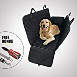 TrioGato Pet Dog Car Backseat Cover – Heavy Duty Hammock Cover, Large Side Flaps. Full Car/SUV Protection-Doors, Backseat & Floor – Waterproof, Nonslip, Washable- BONUS Pet Lint Roller & Dog Seat Belt