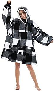 Tirrinia Oversized Hoodie Blanket Sweatshirt Comfortable Sherpa Giant Pullover Reversible Wearable Blankets fo
