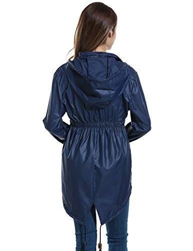 Femme Blue navy Imperméable Pluie Parka Veste Meaneor Festival De 3 Femmes Mac Pour Idéale 7wxvgO