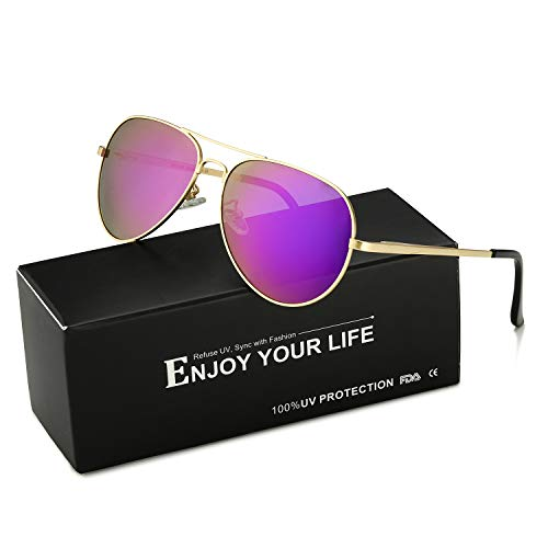 bd957206b26 SODQW Aviator Sunglasses Mirrored for Women Polarized with Large Metal  Frame - UV 400 Protection