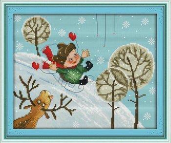 Joy Sunday Cross Stitch kits, The skiing boy,11CT Printed, 4