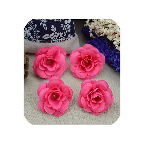 50 Pcs 4.5cm Handmade Mini Artificial Silk Rose Flowers Heads Scrapbooking Flower,Rose