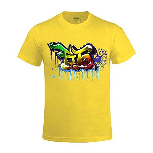 Overbearing Graffiti Design Men Round Collar T-shirts Yellow