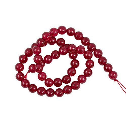 MonkeyJack 8mm Natural Smooth Ruby Red Jade Gemstone Round Loose Beads Strand 15'' DIY ()