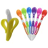 Baby : Baby Banana Bendable Training Toothbrush, Infant with Munchkin Soft-Tip Infant Spoons 6-pk