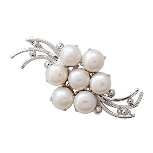 NOVICA Cream Cultured Freshwater Pearl Rhodium Plated .925 Sterling Silver Brooch, Love in Bloom'