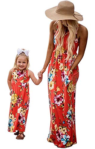 Family Matching Flower Print O-Neck Sleeveless Long Maxi Dress Mommy and Me One Piece Spring Fall Sundress (Mom/XL) -