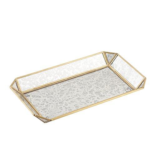 Artisanal Creations Vintage Style Jewelry Glass Tray – Decorative Antiqued Brass Frame Trinket, Cosmetic, Make-up Organizer – Handmade Jewelry Display Storage by