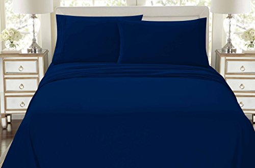 HC COLLECTION-Premium 1500 Series Bed Sheets Set, Hotel Quality Luxury Soft Brushed Microfiber 4 Piece Bedding Set, Deep Pocket, Hypoallergenic, Wrinkle & Fade Resistant (King,Navy Blue)