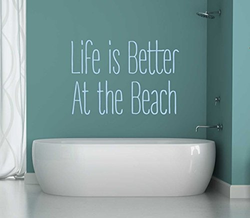 Beach Wall Decal - Life Is Better At The Beach Vinyl Sticker - Ocean Themed Home Decor Lettering for Walls or - South Washington Center