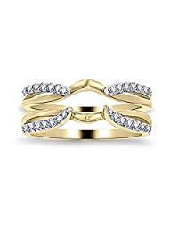 1/4 ct Simulated Diamond Enhancer Solitaire Engagement Ring 14k Yellow Gold Plated Guard Wrap Jacket