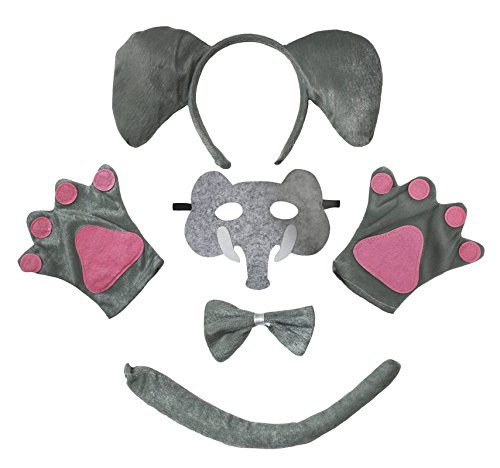 Petitebella Elephant Headband Mask Bowtie Tail Gloves 5pc Costume for Child (One Size) (Elephant Kids Costume)