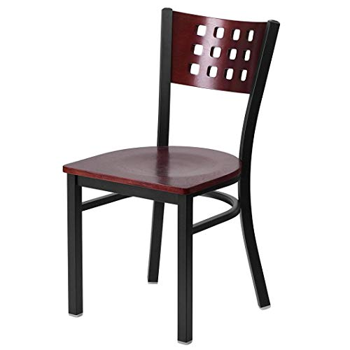 Modern Style Metal Dining Chairs Bar Restaurant Commercial Seats Mahogany Wood Cutout Back Design Black Powder Coated Frame Home Office Furniture - (1) Mahogany Wood Seat #2206 by KLS14 (Image #5)