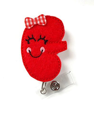 Karrie The Kidney - Retractable Badge Reel - Md Badge Holder - Nephrology Nurse Badge - Nurse Badge Holder - Nursing Badge Clip - Felt Badge - The Badge Shack - Alligator Clip