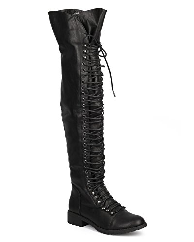 Mark Maddux DH65 Women Leatherette Thigh High Lace Up Zip Combat Boot - Black (Size: 7.5) (2)