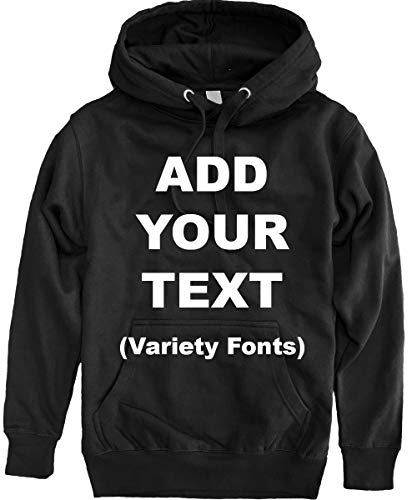 Custom Pullover Fleece Hoodied Sweatshirt Add Your Own Text for Men & Women [Black/Large]