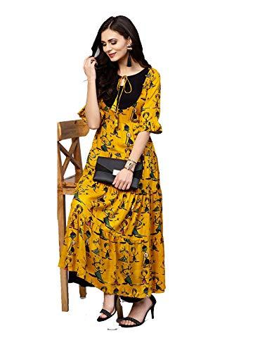 Dream Angel Fashion DreamAngel Women Mustard Yellow Kalamkari Print Anarkali Kurta - Salwar Designer Kurta