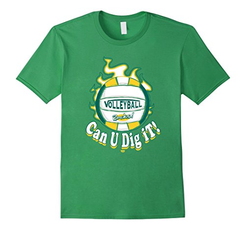 Men's MudgeWare Can U Dig It Volleyball Green Yellow T-Shirt Small Grass (Can U Dig It compare prices)