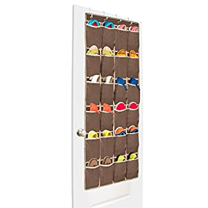 Unjumbly Shoe Hanger from, 24 Pocket Shoe Storage Solution, 4 Colors Available, Complete with 4 Customized Unique Over Door Hooks
