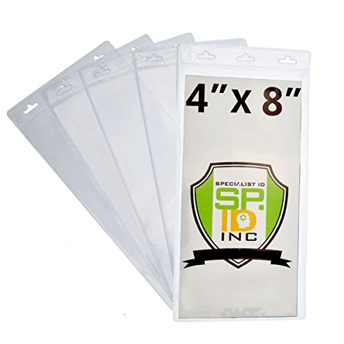 "10 Pack - EXTRA LARGE 4"" X 8"" Clear Plastic Ticket Holders - 4X8 Inch Big Credential ID Protector Sleeves for Sporting Events and Concerts - 3 Lanyard Slots at Top to Work with Any Lanyard"
