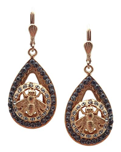 Catherine Popesco Dark Grey Swarovski Crystal Teardrop Bee Goldtone Dangle Earrings