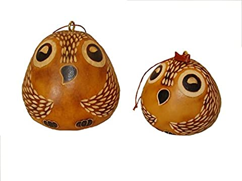Two Pack Gourd Owl Set Carved Fair Trade Peru Hand Made Ornament Decor Male Female *001198* - Peruvian Carved Gourds