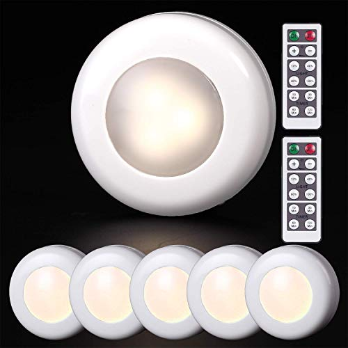 Pack of 6 LED Puck Lights, Amlight Wireless Battery-Operated Stick-On Touch Dimmable Tap Lamp for Closets Cabinets Cupboards Bathroom