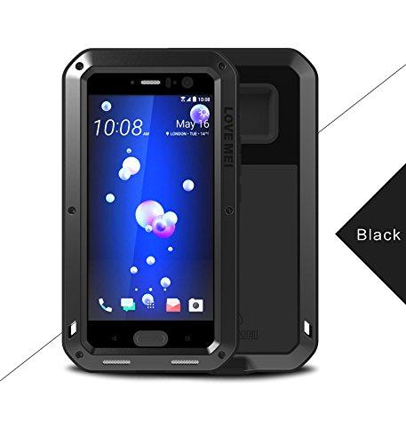 Love Mei Shockproof Waterproof Metal Aluminum Case For HTC U11 - Black -