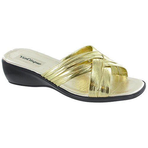 b5ff8d2b30096 Via Cinque Venice Summer Mule/Womens Sandals (8.5 US) (Gold)