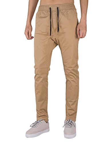 THE AWOKEN Man Casual Joggers Chino Pants Slim Fit Design Drop Crotch Black (Khaki, L) by THE AWOKEN