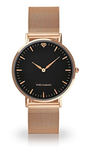 Yves Camani Pure Women's Wrist Watch Quartz Analog Rosegold Plated Stainless Steel Black Dial