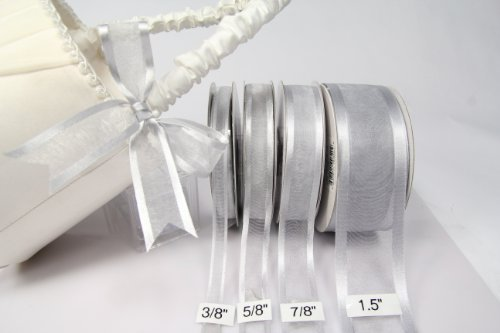 Silver Organza Ribbon With Satin Edge-25 Yards X 1.5 Inches