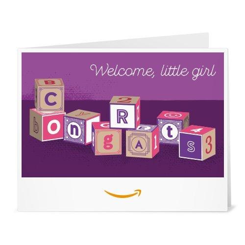 New Baby E-gift Certificate (Amazon Gift Card - Print - Baby Girl Blocks)