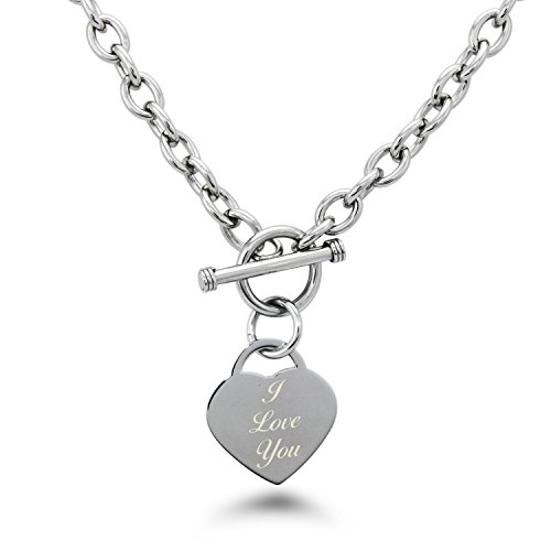 (Stainless Steel Engraved I Love You Heart Tag Charm Necklace)