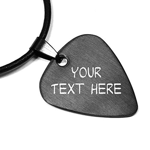 (Personalized Stainless Steel Guitar Pick with Necklace Custom Design Text or Name for Musician Band Boyfriend Husband Fiance Dad, Great Gifts for Birthday Wedding Valentines Father's Day Christmas)