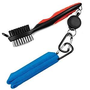 LeRan - Kit de limpieza para palos de golf, formado por cepillo retráctil y juego de toallas de microfibra 2 en 1, con mosquetón de aluminio