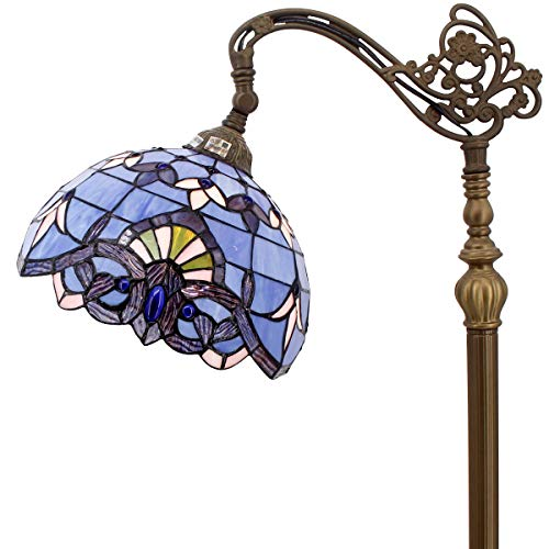 Tiffany Style Reading Floor Lamp Stained Glass Blue Purple Baroque Lampshade in 64 Inch Tall Antique Arched Base for Girlfriend Bedroom Living Room Lighting Table Set S003C WERFACTORY