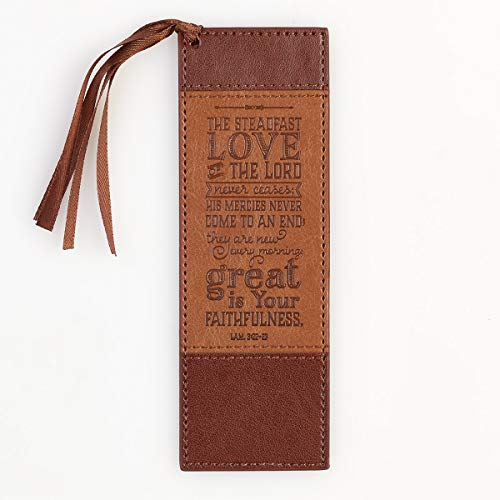 Steadfast Love Two-Tone Brown LuxLeather Pagemarker / Bookmark - Lamentations 3:22-23 from Christian Art Gifts