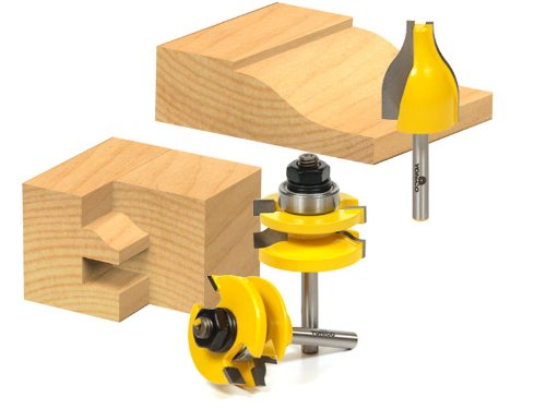 (Rail and Stile w/ Vertical Panel Raiser 3 Bit Set Ogee 1/4