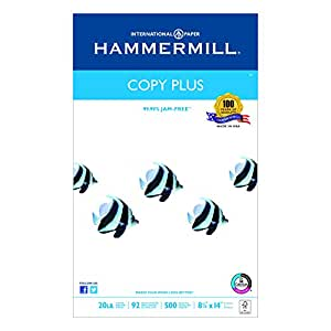 Hammermill Paper, Copy Plus, 20lb, 8.5 x 14, Legal, 92 Bright, 500 Sheets / 1 Ream (105015R), Made in the USA