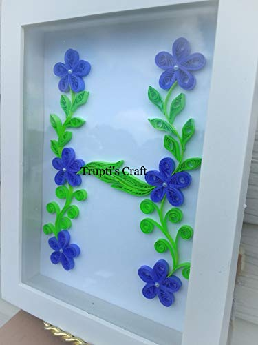 Paper Quilling Monogram 'H' Wall Frame/Wall Hanging/Home Decor/Gift / Children Room Decor/Monogram / Paper Quilling Gift by Trupti's Craft (Image #4)