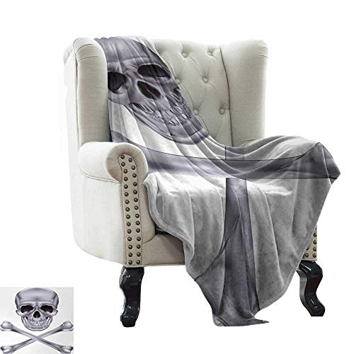 LsWOW Blanket as Bedspread Silver,Vivid Skull and Crossbones Dangerous Scary Dead Skeleton Evil Face Halloween Theme,Dimgray Indoor/Outdoor, Comfortable for All Seasons 70