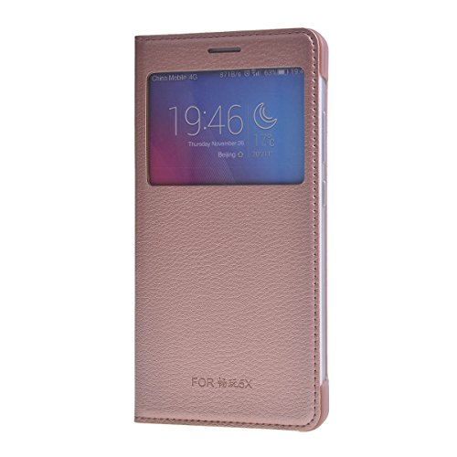 LIKESEA Window View Leather Case Flip Cover for Huawei Honor 5X/ Honor X5/ GR5 - Rose Gold - Phone Cover Huawei Windows Phone
