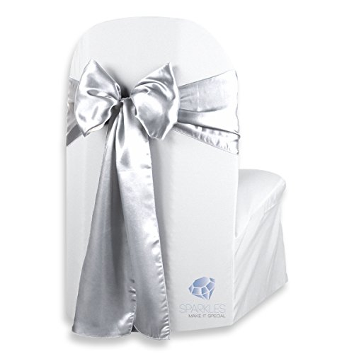 (Sparkles Make It Special 100 pcs Satin Chair Cover Bow Sash - Silver - Wedding Party Banquet Reception - 28 Colors Available)