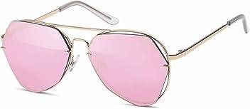 Pilotenbrille mit eckigem Flachglas Verspiegelte Sonnenbrille UV400 Filter - Im Set mit Mikrofaseretui