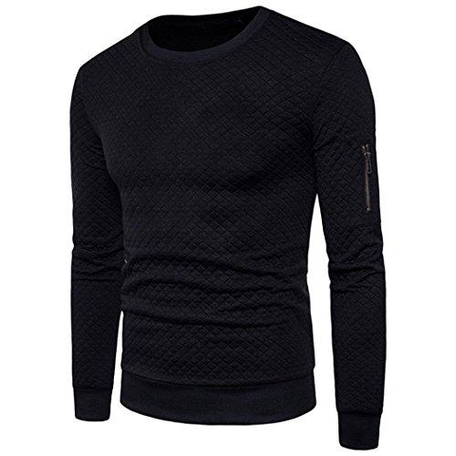Autumn Winter Mens' Sweatshirt Tops Coat Outwear Lightweight Windproof Long Sleeve Causal Jacket (Black, XXL) by Sinzelimin