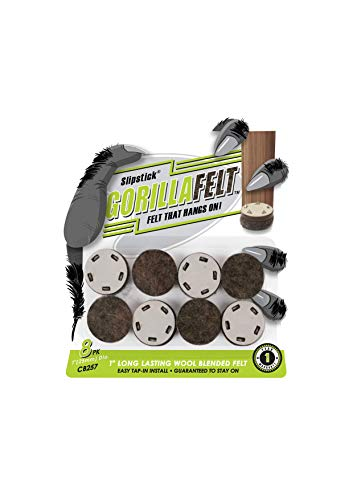 GorillaFelt CB257 Chair Leg Floor Protectors (8 Pack) Tap On Felt Furniture Pads Guaranteed to Stay On, 1 Inch Round Glides