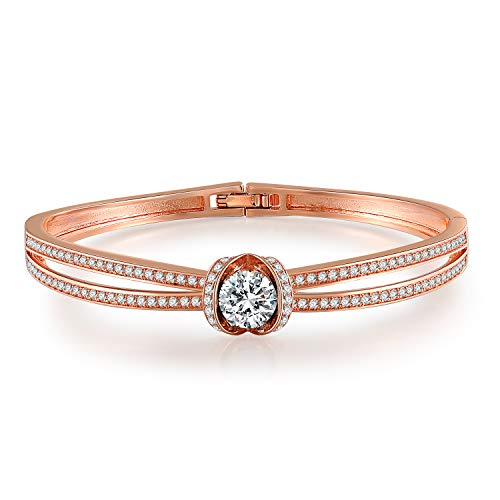 GEORGE · SMITH Rose Gold Bracelet Luxury Jewelry Adjustable Bangle Bracelets for Womens Girls Crystal Monther's Gift