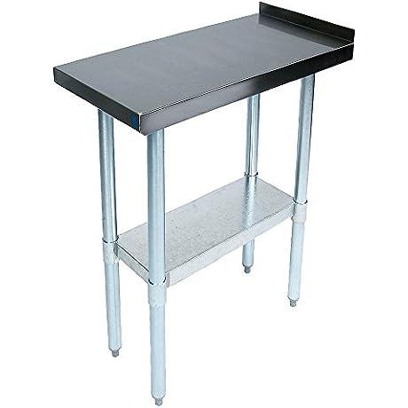 John Boos EFT8 3018 Stainless Steel 430 Riser Top Filler Table 1 5 Turn Up With Adjustable Undershelf 18 Length X 30 Width