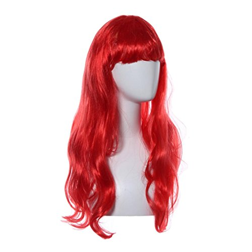 Inkach Women Lace Front Wigs Long Straight Hair Full Roll Bang Wig (Red)